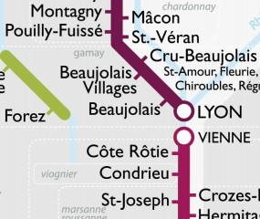 De wijnstreken en -soorten van Frankrijk als een metrokaart