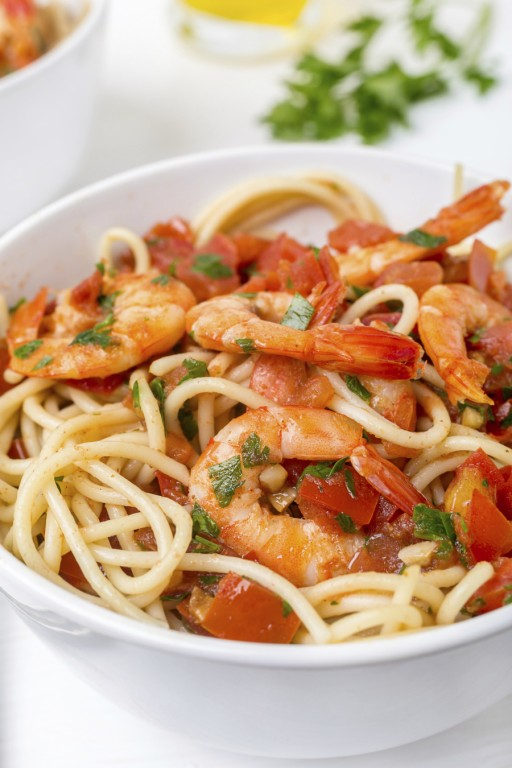 Spaghetti pasta garnalen stock