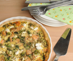 Quiche met zalm, broccoli & geitenkaas