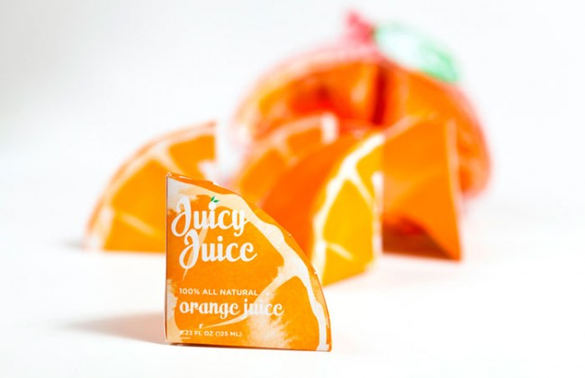 Pakjes sap in de vorm van een sinaasappel