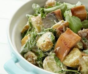 Aardappelsalade met waterkers en haring