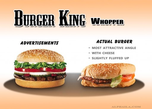 08 Burger King - Whopper_A1 (fast, food, advertising, burger king, whopper, false, tiny, comparison, ads, vs, reality)