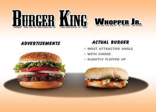 10 Burger King - Whopper Jr 1 (fast, food, advertising, burger king, whopper, jr, false, tiny, comparison, ads, vs, reality, studio, photography)