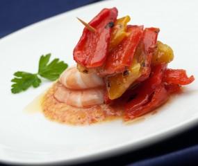 Gamba's met gegrilde paprika's