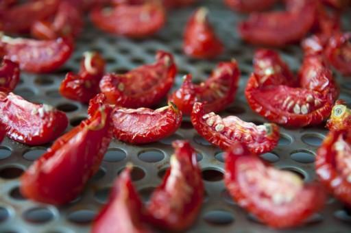Zongedroogde tomaten sun dried tomatoes stock