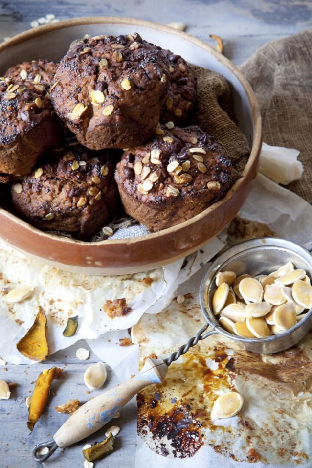 pompoen muffins stock