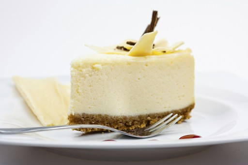 Stock witte chocolade cheesecake