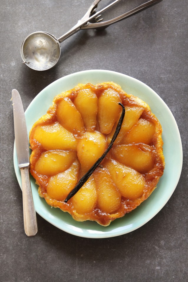 Pear tarte tatin on a plate