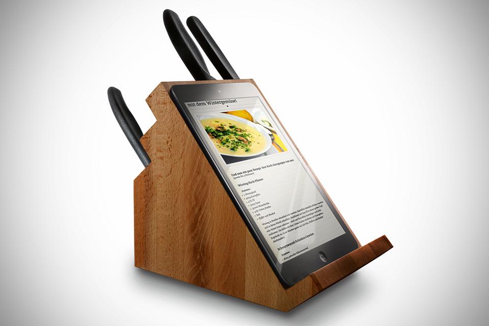 Handig messenblok m t ingebouwde ipad standaard for Keuken ontwerpen op ipad