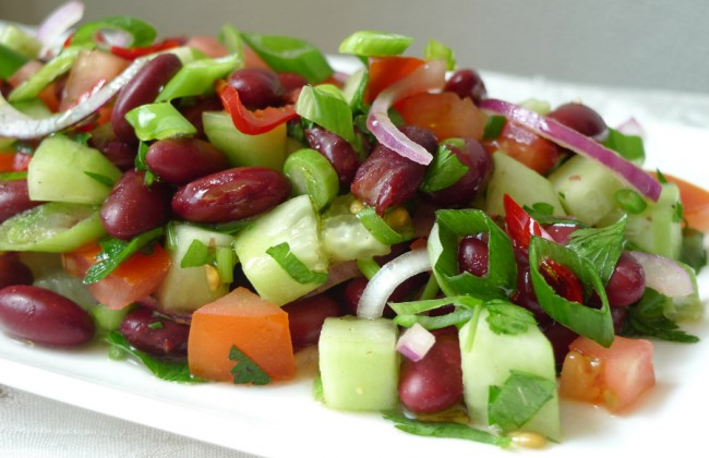 salade van serranoham en granaatappel