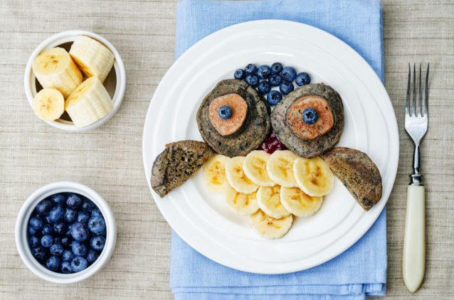 blueberry chocolate pancake with bananas for kids