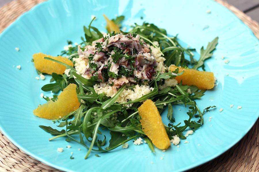 Culy homemade makreelsalade met couscous en sinaasappel - Huis placemat wereld ...