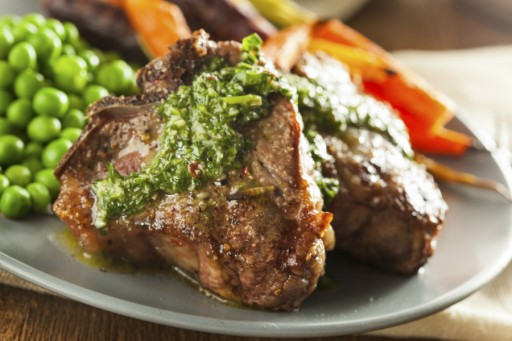 Steak chimichurri stock