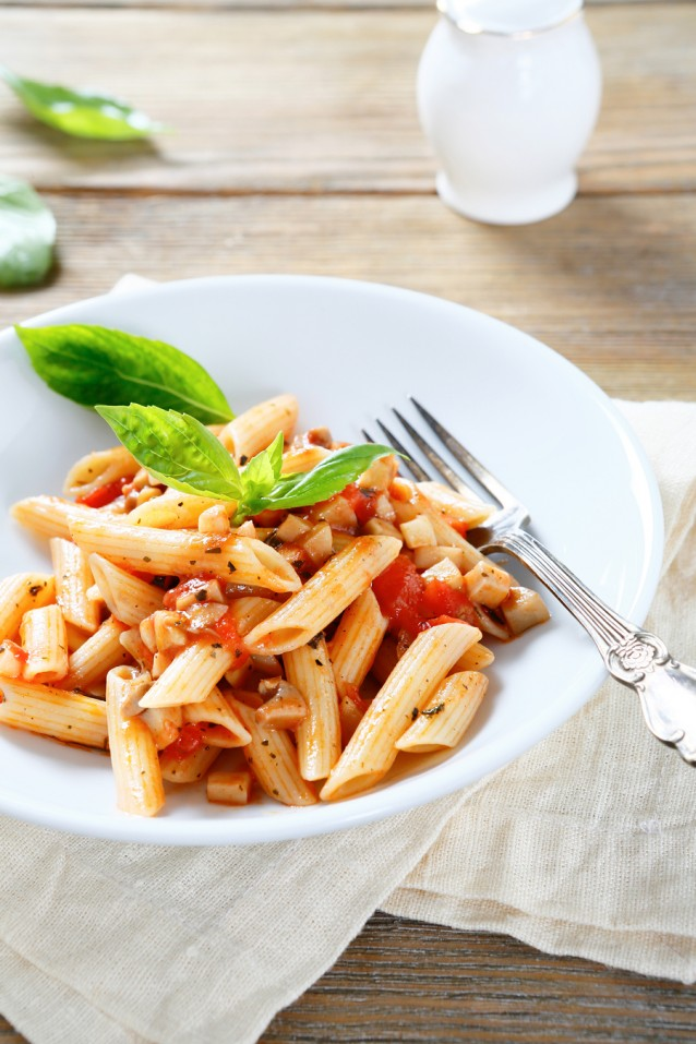 penne with sauce in a bowl