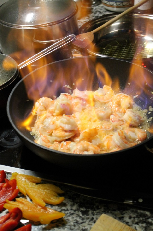 flambéed shrimp