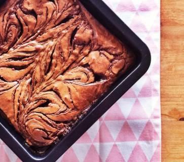 Hemelse brownies met gezouten karamel