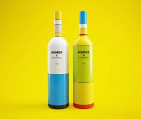 Wijnflessen in de stijl van The Simpsons én Mondriaan