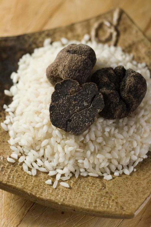 Truffels stock risotto rijst