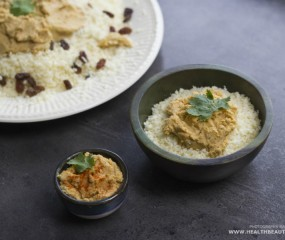 Raw & vegan rijst met hummus