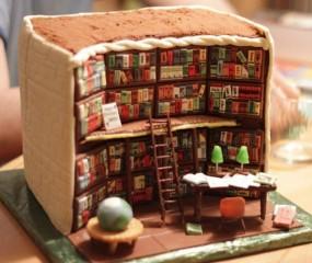 Deze taart lijkt net een levensechte bibliotheek