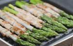 Lekker hapje: gegrilde groene asperges met ham