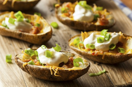 Potato skins stock