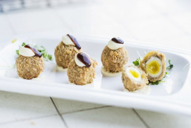 Scotch eggs stock