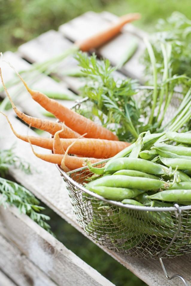 Groenten doperwten wortels stock