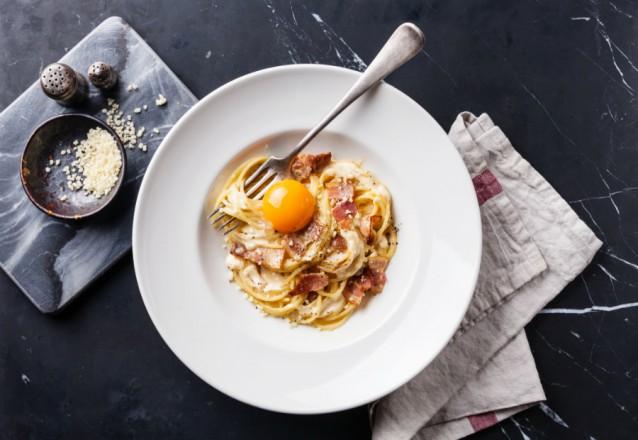 Pasta Carbonara stock