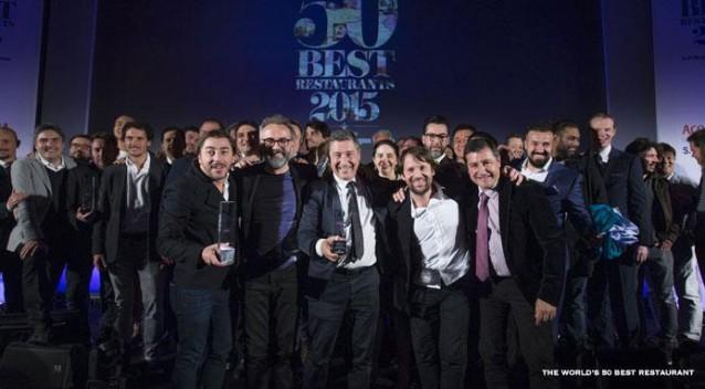 De voorste rij v.l.n.r.: Jordi Roca, Massimo Bottura, Joan Roca, René Redzepi en Josep Roca