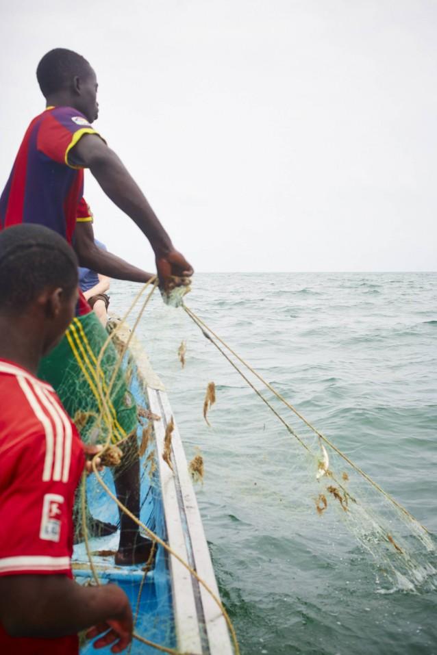 The gambia foto copyright David Loftus, vangst binnenhalen op boot