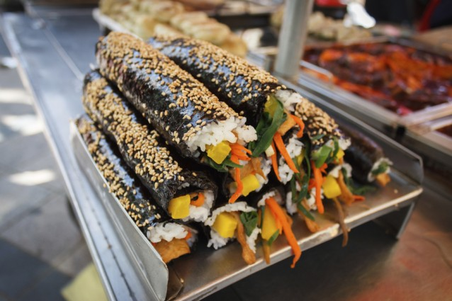 Kimbap street food in Busan Korea