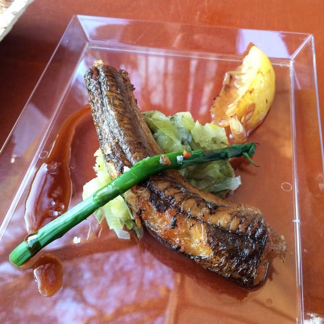 Bakpaling met prei, groene asperge en palingjus