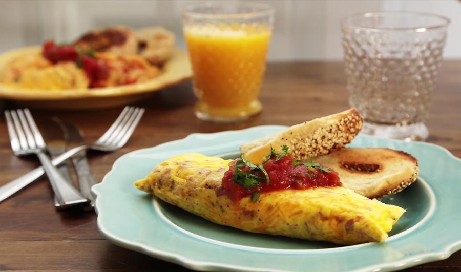 omelet in een druk-en-sluitzakje