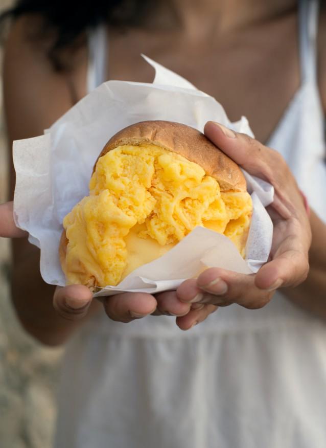 Brioches with orange Ice cream.