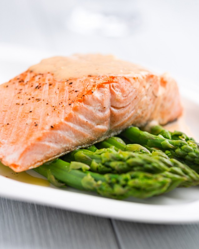 Salmon Fillet on Green Asparagus