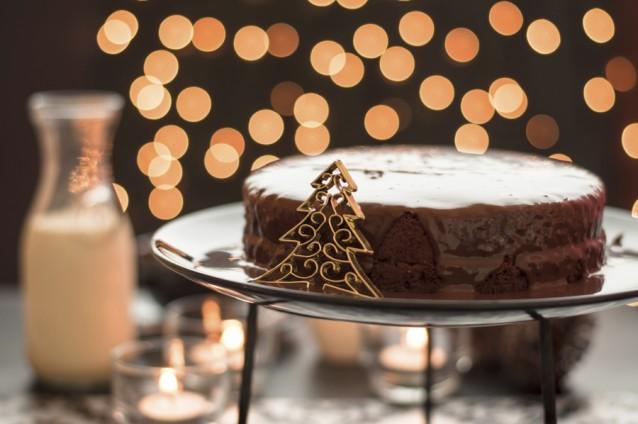 Kerst chocoladetaart stock