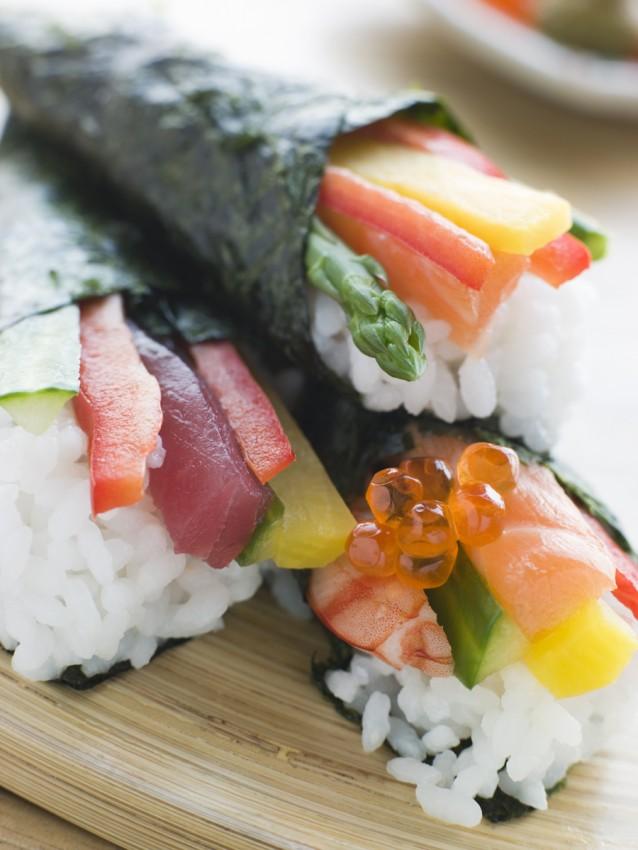 Temaki handroll sushi stock