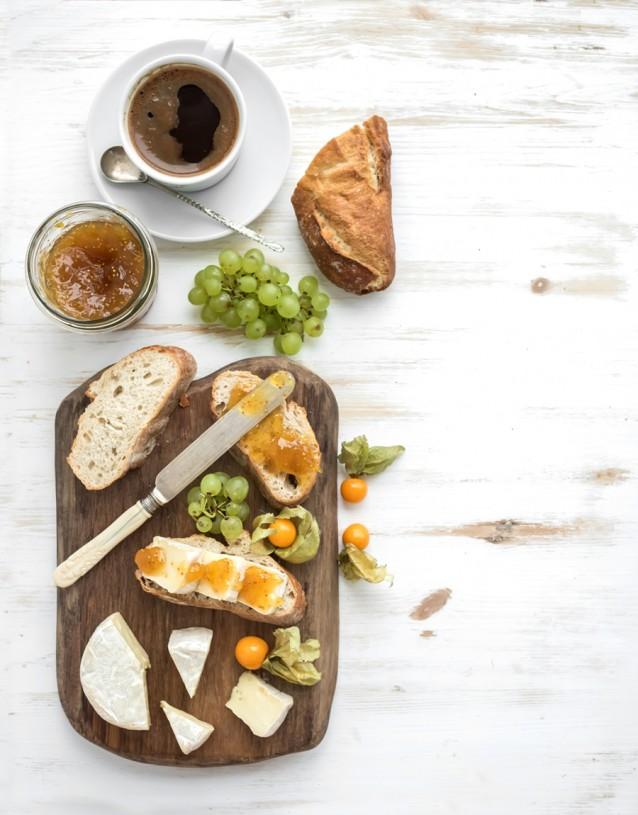 ontbijt kaasplank stock