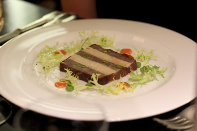 Terrine van eend, foie gras en kweepeer (£14)