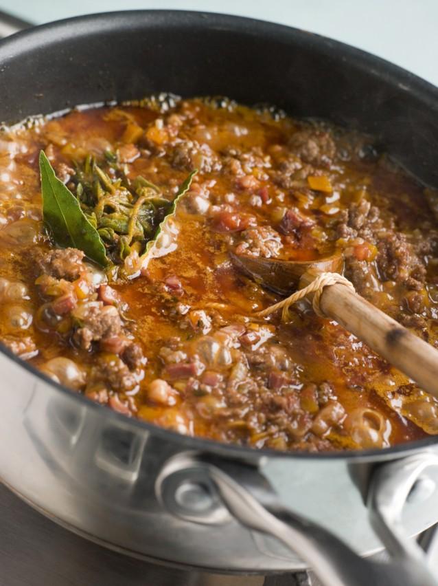 Tomatensaus pasta stock