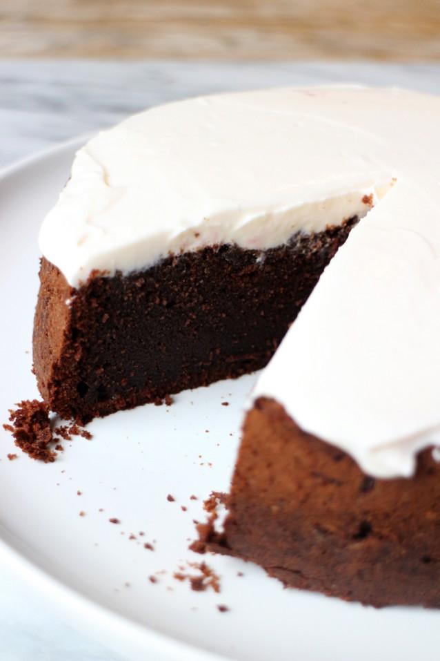 Chocoladetaart met creme fraiche2