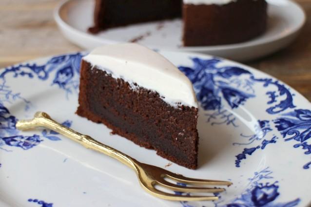Chocoladetaart met creme fraiche5