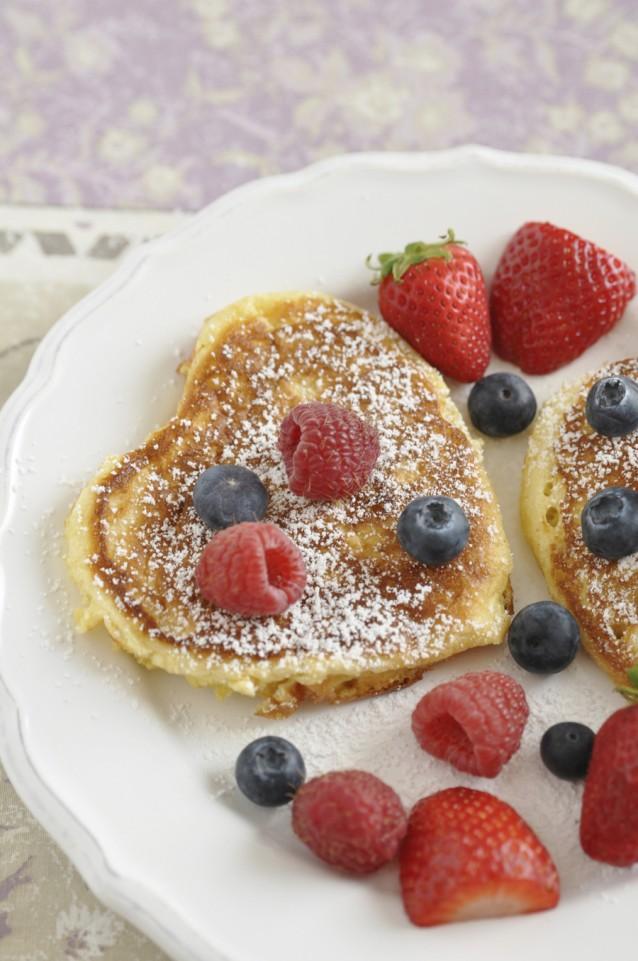 Hartvormige pannenkoekjes pancakes stock