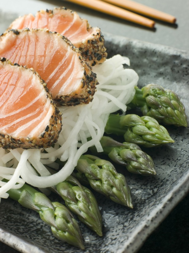 Sashimi asperges japans stock