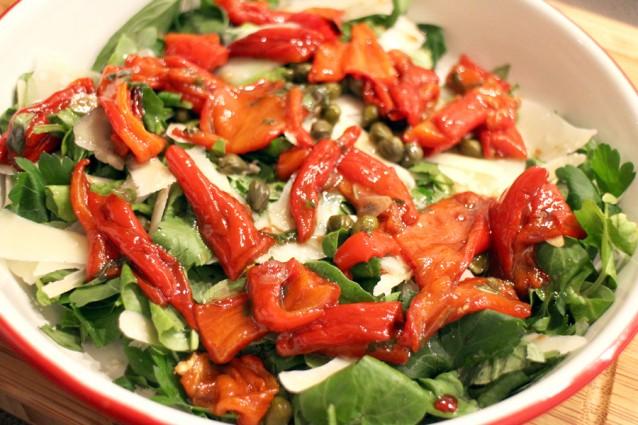 Waterkerssalade met geroosterde paprika2