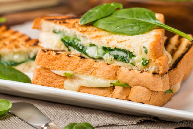 Tosti met spinazie en kaas stock