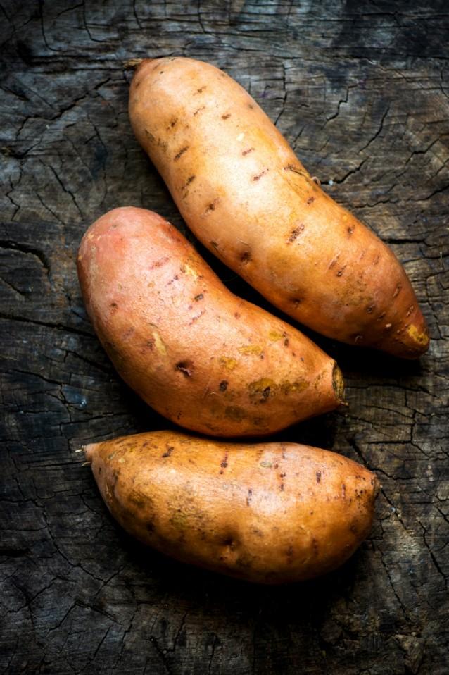 Zoete aardappels stock