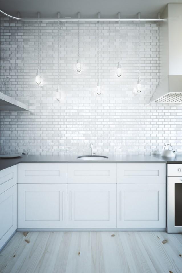 witte keuken stock