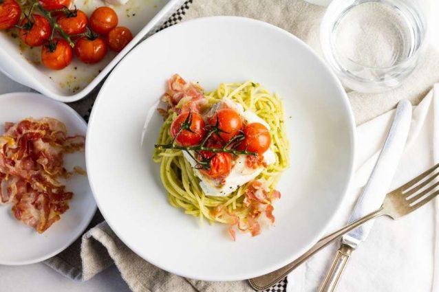 kabeljauwfilet met pancetta, pasta pesto en geroosterde tomaatjes2